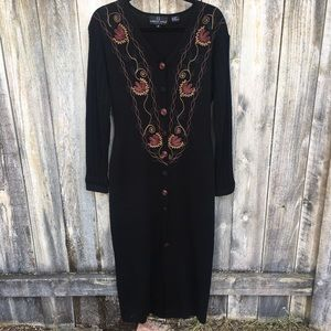 Maxi Sweater Dress with Embroidery